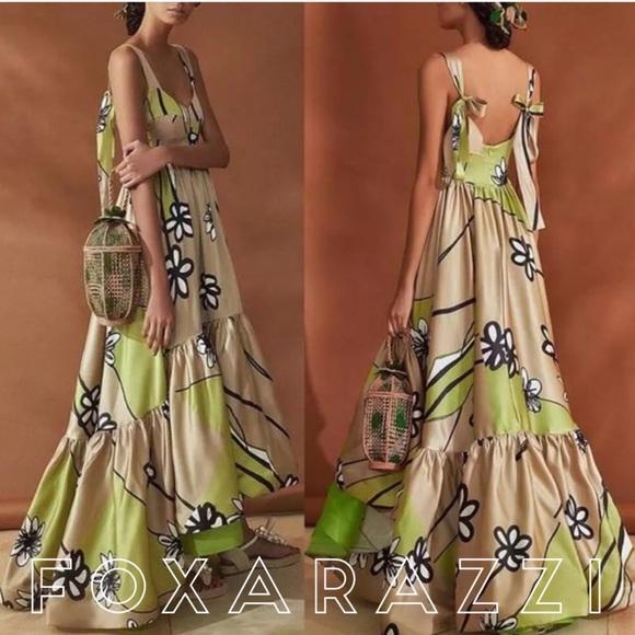 7f302d2f260c Dresses | Foxy Olivia Green Tan Floral Silky Summer Dress | Poshmark